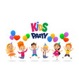 boys and girls with the balloons and birthday vector image