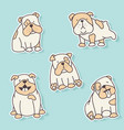 bulldog stickers vector image