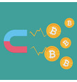 business concept a magnet attracting bitcoins vector image