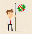 businessman holding in hand flag with ban of money vector image vector image