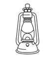 camping lantern lamp cartoon vector image