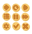 cartoon wooden buttons for game vector image vector image