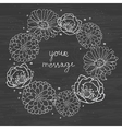 Chalkboard floral cirlce frame on blackboard vector image