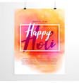 creative holi festival flyer design with colorful vector image vector image