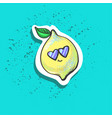 cute happy cool lemon with leaf in sun glasses vector image