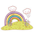 cute landscae with rainbow drawings vector image