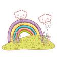 cute landscae with rainbow drawings vector image