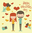 cute young couple together on valentine day vector image
