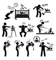father daddy husband parenting baby stick figure vector image