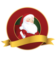 Festive Christmas label with smiling Santa Claus vector image vector image