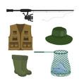 fishing set fish-rod clothing fishnet vector image