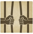 freedom concept hands breaking prison bars old vector image vector image