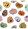 funny halloween seamless pattern with pumpkins vector image