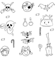 Ghost and charactere Halloween in doodle vector image vector image