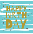happy birthday gold on blue vector image vector image