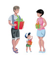 happy family at christmas with gifts vector image vector image