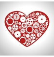 heart gear wheel team work design isolated vector image