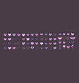 hearts icon big set flat in purple vector image vector image