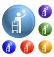 man walker icons set vector image