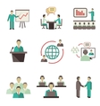 Meet people online icons set vector image vector image