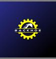 modern gear excavator backhoe mining logo design vector image