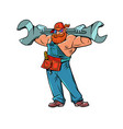 muscular plumber with a monkey wrench vector image