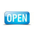 open blue square 3d realistic isolated web button vector image vector image