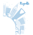 Outline Riyadh skyline with blue buildings vector image vector image