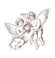 pair of cute little angels carrying floral wreath vector image vector image