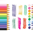 pencils tacks stikers vector image