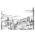 rough black and white sketch small ancient vector image vector image