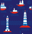 sea ships lighthouses seagulls clouds sun vector image