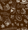 Seamless pattern with coffee cakes pies latte vector image vector image