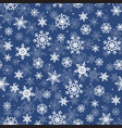 seamless pattern with snowflakes on blue vector image vector image