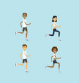 set diversity man woman running mix race male vector image vector image