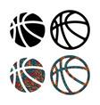 set four basketball balls vector image vector image