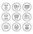 set round line icons of booking tickets vector image