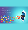 social media marketing landing page layout human vector image