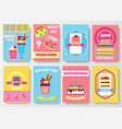 sweet for party or wedding brochure cards set vector image