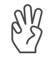 three fingers up line icon number three vector image vector image