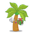 with gift palm tree character cartoon vector image vector image