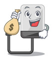 with money bag hard drive in shape of mascot vector image vector image
