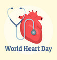 world red heart day background flat style vector image vector image