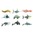 Fish And Marine Animals Cartoon Set vector image