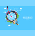 bicycle wheels lady on scooter process effective vector image