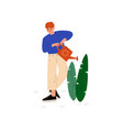 boy watering plant with watering can guy working vector image vector image