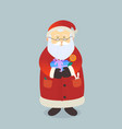 cartoon santa claus with bag of gifts postcard vector image vector image
