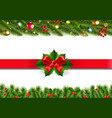 christmas border with fir tree set vector image vector image