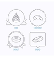 Croissant cake and bread icons vector image vector image