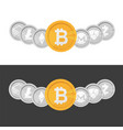 cryptocurrency logo coin set - bitcoin on black vector image